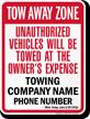 Custom Michigan Tow-Away Sign
