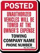 Custom Minnesota Tow-Away Sign