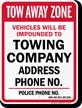 Custom Nevada Tow-Away Sign