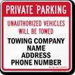 Custom North Carolina Tow-Away Sign