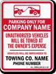 Custom Rhode Island Tow-Away Sign