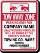Custom South Dakota Tow-Away Sign