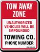 Custom Washington Tow-Away Sign