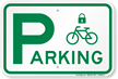 Parking Sign with Cycle and Lock Symbol