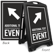 Diagonally Right Arrow Event Parking Sidewalk Sign