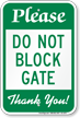 Do Not Block Gate Parking Restriction Sign