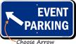Event Parking Up Left Arrow Direction Sign