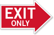 Exit Only, Right Die-Cut Directional Sign