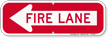 Fire Lane, Left Arrow Directional Parking Sign