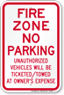 Fire Zone, No Parking Sign