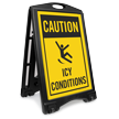 Caution Icy Conditions A-Frame Portable Sidewalk Sign Kit