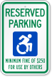Reserved Parking Minimum Fine Sign, Updated ISA Symbol