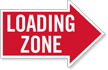 Loading Zone, Right Die-Cut Directional Sign
