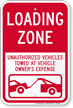 Loading Zone, Unauthorized Vehicles Towed Sign