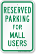 Novelty Parking Space Reserved For Mall Users Sign