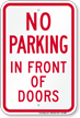 No Parking In Front Of Doors Sign