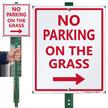 No Parking on Grass Lawnboss Sign, Right Arrow
