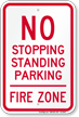 No Stopping Or Parking, Fire Zone Sign