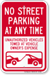 No Street Parking At Any Time Sign