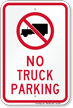 No Truck Parking Sign with Symbol