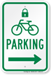 Bicycle Parking Right Sign with Lock Symbol