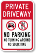 Private Driveway, No Parking Sign