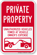 Private Property, Unauthorized Vehicles Towed Sign