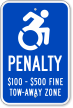 Tow Away Zone Handicapped Parking ISA Sign