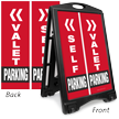 Valet Or Self Parking Sidewalk Sign