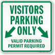 Visitors Parking Only Valid Parking Permit Required Sign