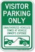 Visitor Parking Only, Unauthorized Vehicles Towed Sign