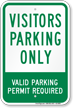 Visitors Parking Only Valid Parking Permit Sign