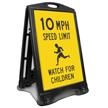Watch For Children 10 Mph Sidewalk Sign