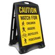 Watch For Children Bicyclists Pedestrians Sidewalk Sign