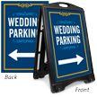 Wedding Parking With Directional Arrow Sidewalk Sign