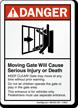 ANSI Danger Moving Gate Sign