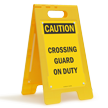 Crossing Guard On Duty Standing Floor Caution Sign
