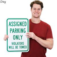 Assigned Parking Violators Towed Sign