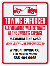 Tow Away Sign - Company