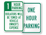 1 Hour Parking Signs