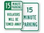 15 Minute Parking Sign