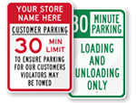 30 minute Parking signs