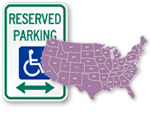 research handicapped parking regulations and signs