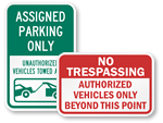 Authorized Parking Signs & Authorized Vehicles Only Signs
