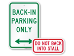 Back In Parking Signs