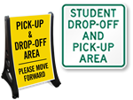 Child Drop Off, Pick-up Signs