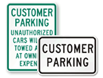 Customer Parking Signs