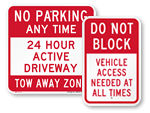 Do Not Block / Active Driveway Signs