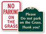 Do Not Park on Grass Signs