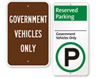 Government Vehicle Parking Signs